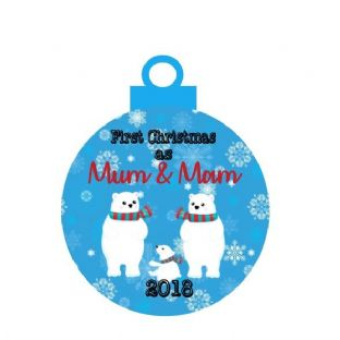 1st Christmas 2 Mums Acrylic Bauble Christmas Ornament Decoration